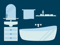 Bathroom in a flat style. Washbasin and bathroom. Vector. Illustration Stock Image