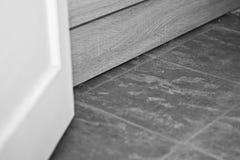Bathroom Floor Tiles. Rough bathroom floor tiles next to bath panel and door. black and white Stock Photos