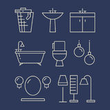 Bathroom furniture and accessories line icons set. Linear bath, vector illustration Royalty Free Stock Image