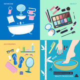 Bathroom furniture and accessories for washing and makeup. Flat style  illustration. Personal hygiene and beauty. Bathroom furniture and accessories for washing Stock Photography