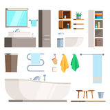 Bathroom Furniture and equipment. Set. A template to create a scene of the interior. Vector illustration in trendy design  on white background for publications Royalty Free Stock Images