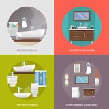 Bathroom Furniture Flat Icons Stock Photography