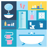 Bathroom furniture. Flat style vector illustration. Bathroom furniture objects icons set with interior accessories for washing   on colored background Royalty Free Stock Photos