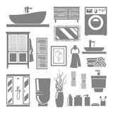 Bathroom Furniture Icons Stock Image