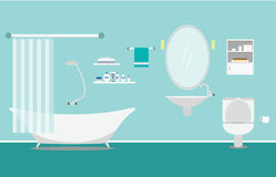 Bathroom with furniture interior on background blue Flat style. Vector flush Royalty Free Stock Image