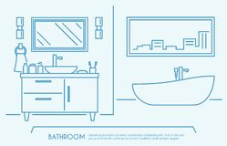 Bathroom Furniture Outline Stock Photo