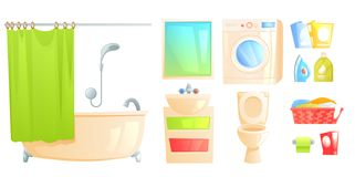 Bathroom furniture set object. Isolated toilet and bath and other subjects. Vector cartoon iillustration vector illustration