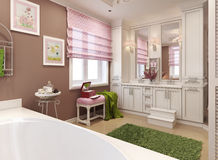 Bathroom for girls in classic style Royalty Free Stock Images