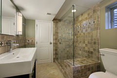 Bathroom with glass shower Stock Images