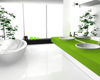 Bathroom Green. Modern luxurious bathroom with contemporary design and furniture, colored in black, green and white, 3d rendering Stock Image