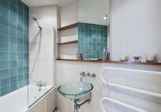Bathroom with green elements Stock Images