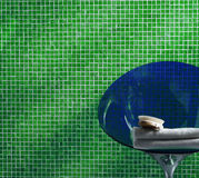 Bathroom with green mosaic Stock Image