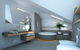 Bathroom in Grey Colours Royalty Free Stock Photo
