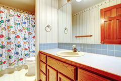 Bathroom with happy fish curtain Royalty Free Stock Photography