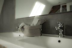 Bathroom haze. Bathroom in historic home with smoke haze Stock Photo