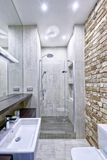 Bathroom at home in loft style with designer renovation. Stock Photos