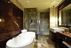 Bathroom Hotel. Master bath in elegant hotel with large tub Royalty Free Stock Photos