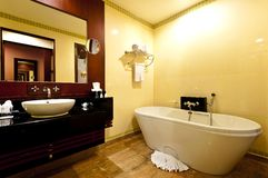 Bathroom hotel. Interior of toilet and bathroom in hotel Royalty Free Stock Image