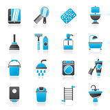 Bathroom and hygiene objects icons Stock Photo