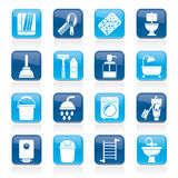Bathroom and hygiene objects icons stock illustration