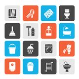 Bathroom and hygiene objects icons royalty free illustration
