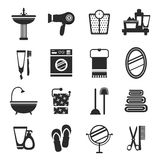 Bathroom icon set black and white Stock Photos