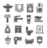 Bathroom icon set Royalty Free Stock Images