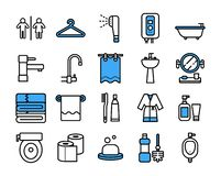 Bathroom icon set.Vector thin line style. vector illustration