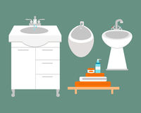 Bathroom icons colored set with process water savings symbols hygiene collection and clean household washing cleaning Stock Photo