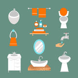 Bathroom icons colored set with process water savings symbols hygiene collection and clean household washing cleaning Royalty Free Stock Photos