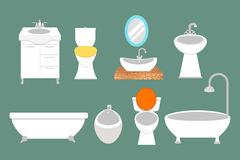 Bathroom icons colored set with process water savings symbols hygiene collection and clean household washing cleaning Royalty Free Stock Image