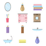 Bathroom icons colored set with toothbrush hygiene collection equipment  illustration. Stock Photography