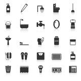 Bathroom icons with reflect on white background Stock Image