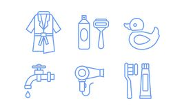 Bathroom icons set, bathrobe, razor, shaving gel, water tap, hairdryer, toothbrush and paste linear symbols vector. Illustration isolated on a white background vector illustration