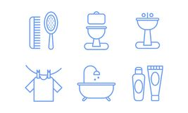Bathroom icons set, hygiene, body care linear symbols vector Illustration on a white background. Bathroom icons set, hygiene, body care linear symbols vector vector illustration