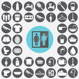 Bathroom icons set. Stock Photos
