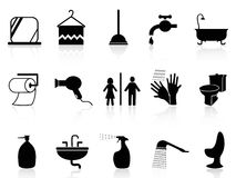 Bathroom icons set Stock Photography