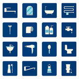 16  Bathroom icons set. Vector illustration. Stock Photography