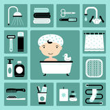Bathroom icons. Set of vector icons of bathroom and personal care Stock Photography
