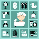 Bathroom icons. Set of vector icons of bathroom and personal care Royalty Free Stock Photos