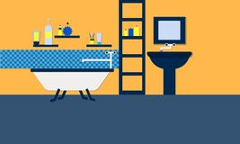 Bathroom illustration flat style design Royalty Free Stock Photography