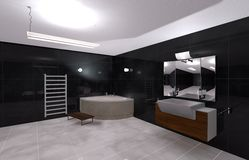 Bathroom. Illustration modern bathroom in Black and White Stock Photo