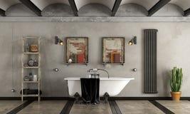 Bathroom in industrial style with bathtub Royalty Free Stock Photos