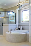 Bathroom interior. Upscale Bathroom interior with stained glass window Royalty Free Stock Images