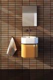 Bathroom interior. 3d rendering of the bathroom interior in minimalism style royalty free illustration