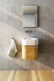 Bathroom interior. 3d rendering of the bathroom interior in minimalism style vector illustration