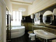 BATHROOM INTERIOR. Classic interior of an elegant bathroom stock photos