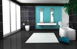 Bathroom Interior. Interior of a modern and contemporary bathroom colored in black and blue aquamarine. 3d rendering Stock Photography