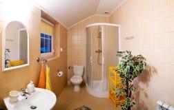 Bathroom interior. A bathroom interior, wide-angle view Royalty Free Stock Photos