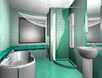 Bathroom Interior. Luxury Modern Bathroom Interior in aqua colors stock illustration